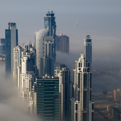 Downtown Dubai Covered In Fog